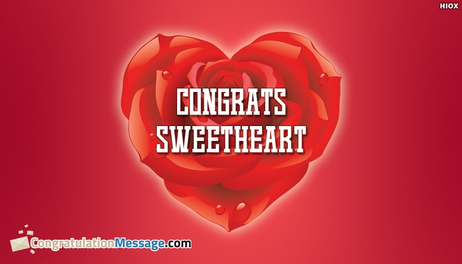 Congrats Sweetheart - Congratulation Messages for Wife