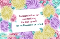 Congratulations For Accomplishing The Task So Well
