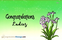 Congratulations Ladies